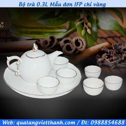 Bộ trà 0.3L Mẫu đơn IFP chỉ vàng