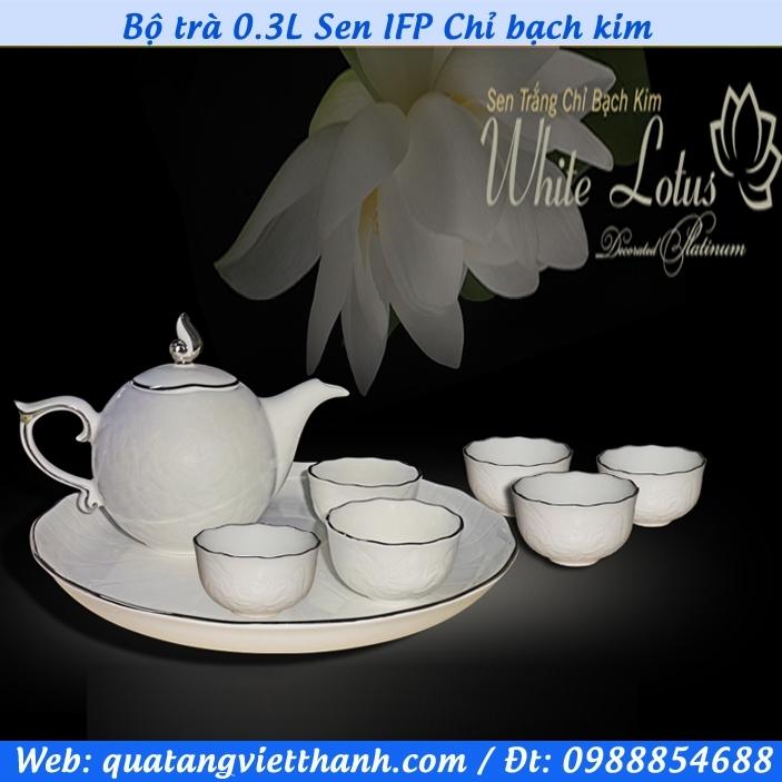 Bộ trà 0.3L Sen IFP Chỉ bạch kim