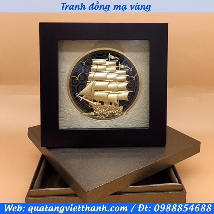 Tranh thuận buồm xuôi gió mạ vàng 200x200mm